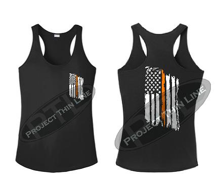 Black Tattered Thin Orange Line American Flag Racerback Tank Top