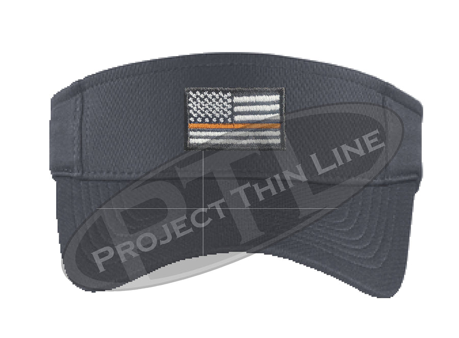 Black Embroidered Thin Orange Line American Flag Visor