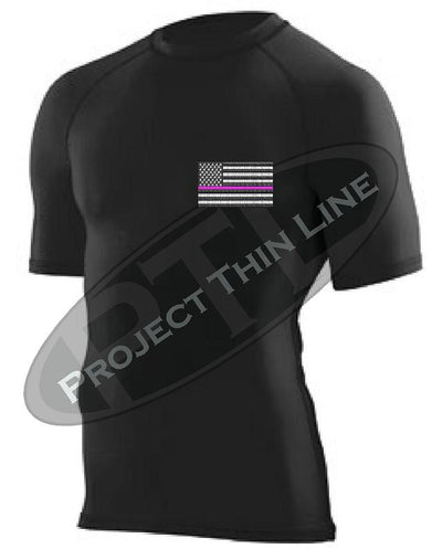 BLACK Embroidered Thin PINK Line American Flag Short Sleeve Compression Shirt