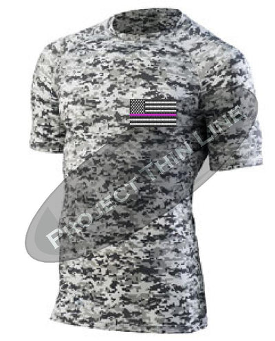 Digital Camo Embroidered Thin PINK Line American Flag Short Sleeve Compression Shirt