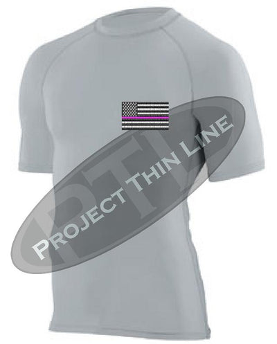 Light Grey Embroidered Thin PINK Line American Flag Short Sleeve Compression Shirt