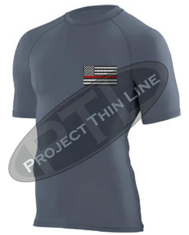 Black Embroidered Thin RED Line American Flag Short Sleeve Compression Shirt