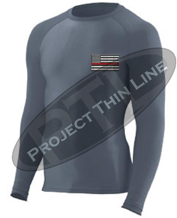 Embroidered Thin RED Line American Flag Long Sleeve Compression Shirt