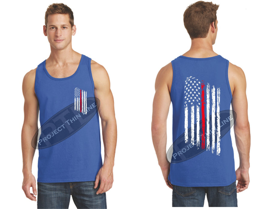 BLACK Thin Red Line Tattered American Flag Tank Top