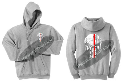 Ash Grey Thin RED Line Punisher Skull inlayed with the Tattered American Flag Hooded Sweatshirt