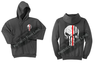Charcoal Thin RED Line Punisher Skull inlayed with the Tattered American Flag Hooded Sweatshirt