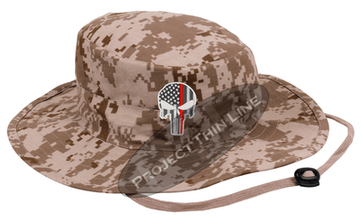 Desert Camouflage Boonie Hat with embroidered Subdued Thin RED Line Punisher
