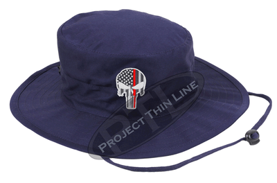 Navy Blue Boonie Hat with embroidered Subdued Thin RED Line Punisher