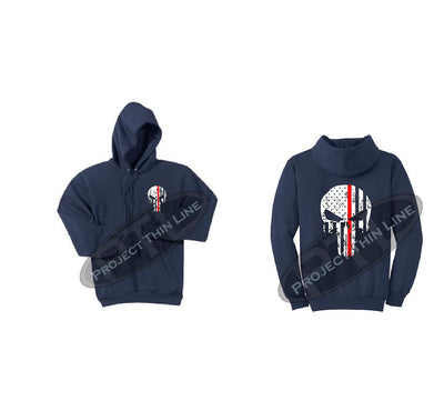 Navy Blue Thin RED Line Punisher Skull inlayed with the Tattered American Flag Hooded Sweatshirt