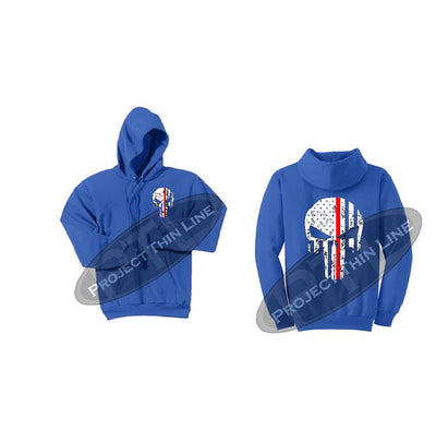 Royal Blue Thin RED Line Punisher Skull inlayed with the Tattered American Flag Hooded Sweatshirt