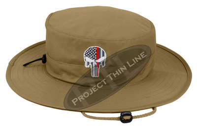 Tan Boonie Hat with embroidered Subdued Thin RED Line Punisher