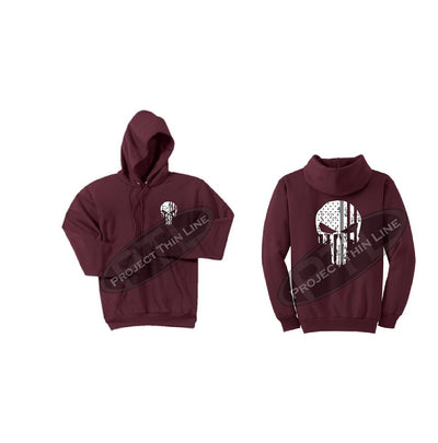 Thin SILVER Line Punisher Skull inlayed with the Tattered American Flag Hooded Sweatshirt