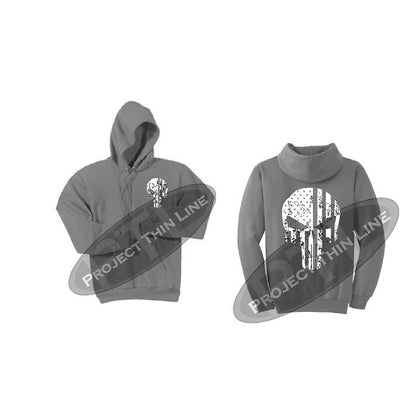 Medium Grey Thin SILVER Line Punisher Skull inlayed with the Tattered American Flag Hooded Sweatshirt