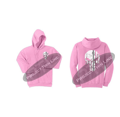 Pink Thin SILVER Line Punisher Skull inlayed with the Tattered American Flag Hooded Sweatshirt