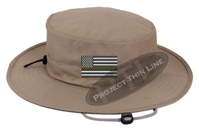 Khaki Boonie hat embroidered with a Thin Yellow Line Subdued American Flag