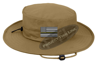 Tan Boonie hat embroidered with a Thin Yellow Line Subdued American Flag