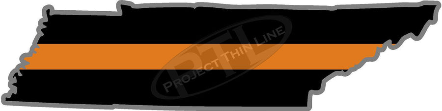"5"" Tennessee TN Thin Orange Line Black State Shape Sticker"