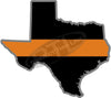 "5"" Texas TX Thin Orange Line Black State Shape Sticker"