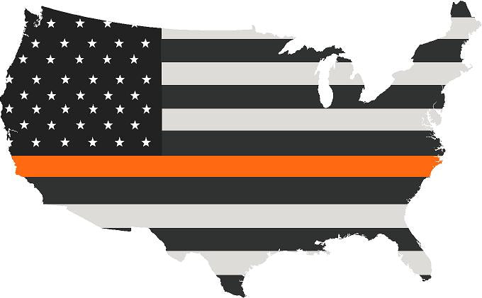 "5"" United States BW Thin ORANGE Line State Shape Sticker Decal"