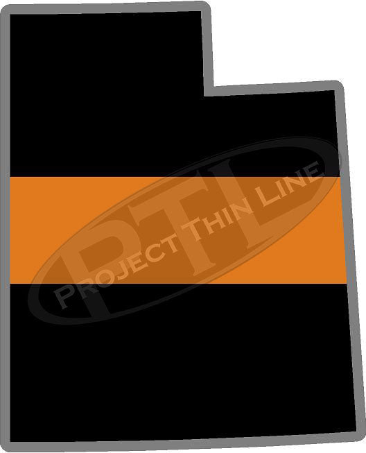 "5"" Utah UT Thin Orange Line Black State Shape Sticker"