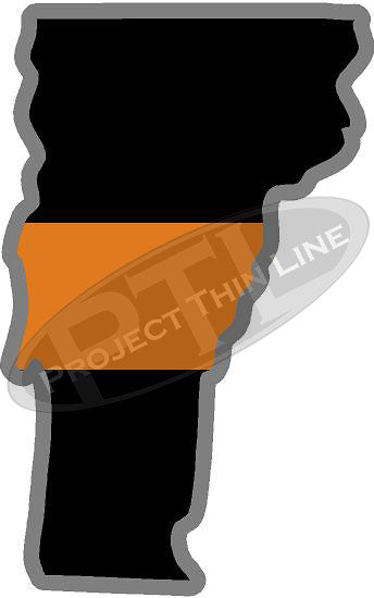 "5"" Vermont VT Thin Orange Line Black State Shape Sticker"