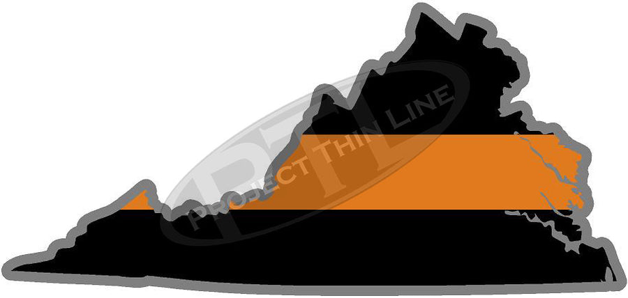 "5"" Virginia VA Thin Orange Line Black State Shape Sticker"