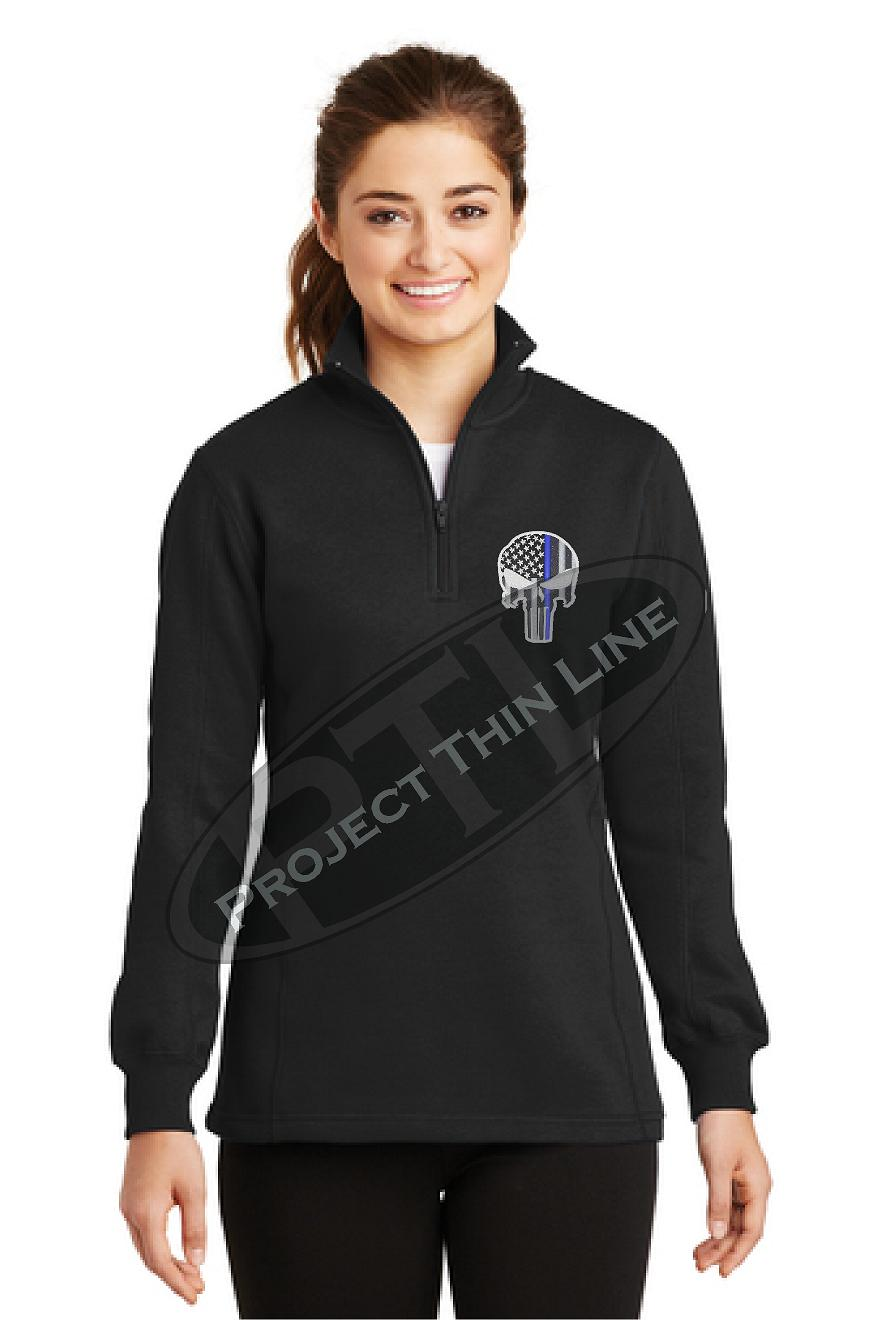 BLACK Ladies embroidered Thin Blue Line Punisher Skull 1/4 Zip Fleece Sweatshirt