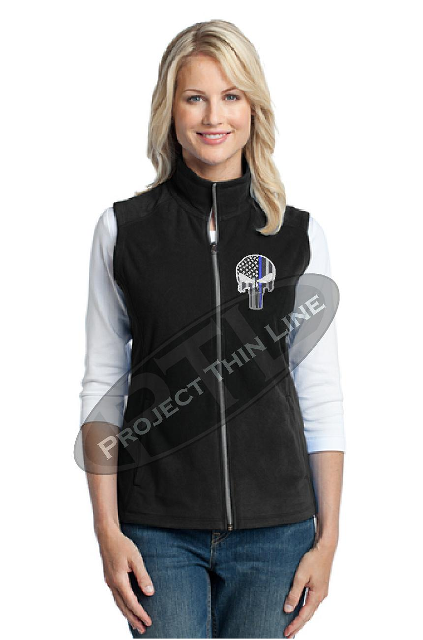 BLACK Womens Embroidered Thin Blue Line Punisher Skull Microfleece Vest