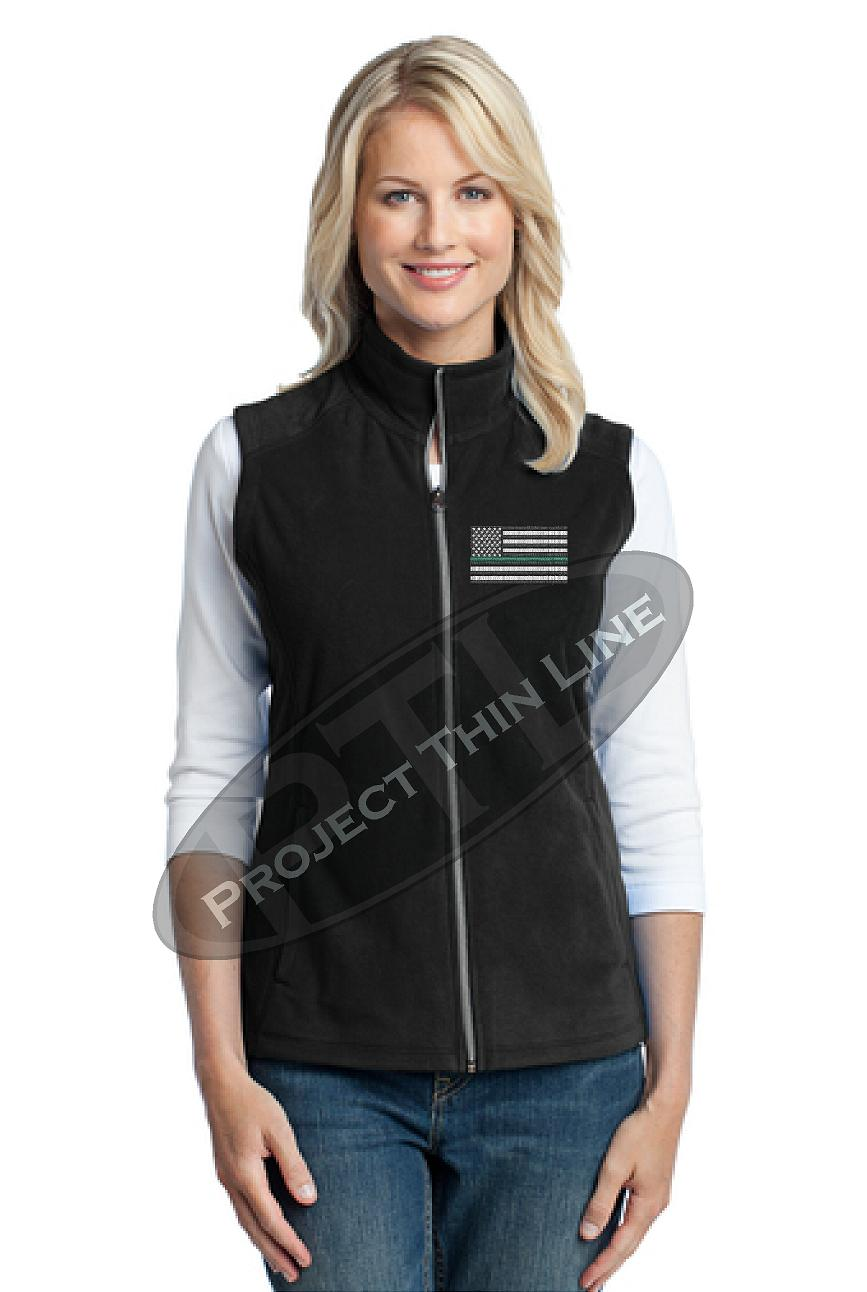 Ladies Black Embroidered Thin Green Line American Flag Microfleece Vest
