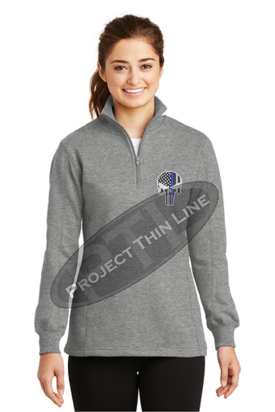 GREY Ladies Thin Blue Line Skull 1/4 Zip Fleece Sweatshirt