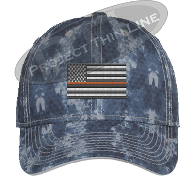 Navy Washed Camo Thin ORANGE Line American Flag Flex Fit Fitted Hat