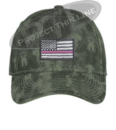 Green Washed Camo Thin PINK Line American Flag Flex Fit Fitted Hat