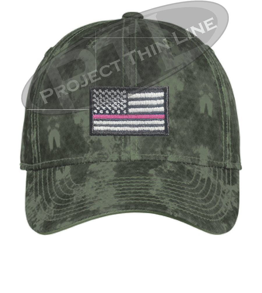 Washed Camo Thin PINK Line American Flag Flex Fit Fitted Hat