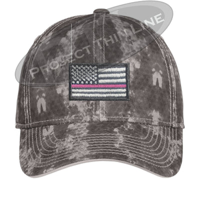 Grey Washed Camo Thin PINK Line American Flag Flex Fit Fitted Hat