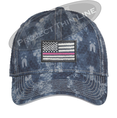 Navy Washed Camo Thin PINK Line American Flag Flex Fit Fitted Hat