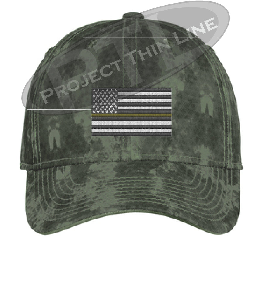 Grey Washed Camo Thin Gold Line American Flag Flex Fit Fitted Hat