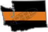 "5"" Washington WA Thin Orange Line Black State Shape Sticker"