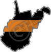 "5"" West Virginia WV Thin Orange Line Black State Shape Sticker"