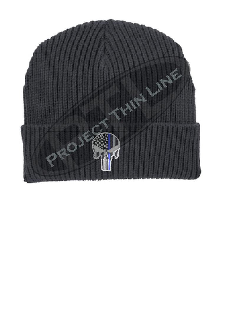 Thin BLUE Line Punisher Skull inlayed with the American Flag Winter Watch Hat