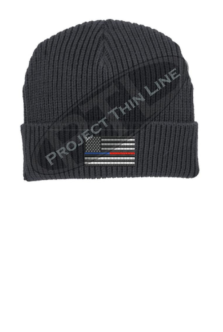 Thin BLUE / RED Line American Flag Winter Watch Hat