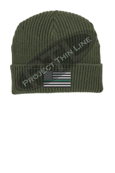 Thin GREEN Line American Flag Winter Watch Hat