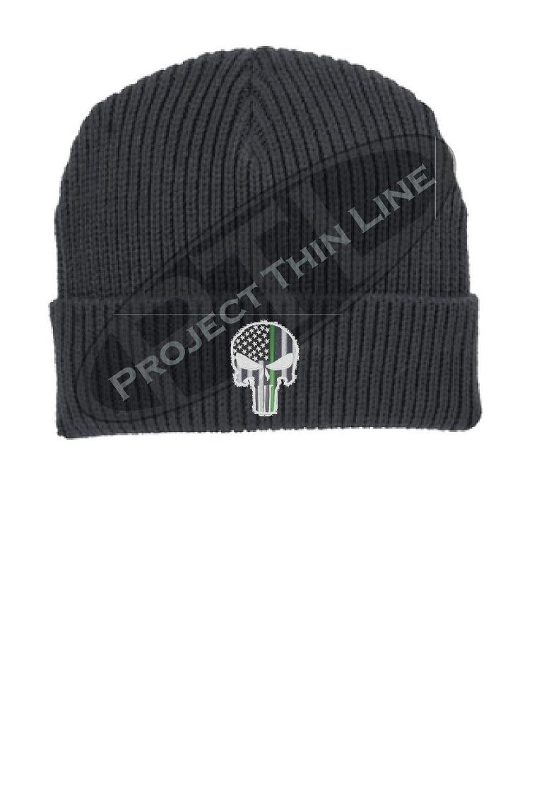 Thin GREEN Line Punisher Skull inlayed with the American Flag Winter Watch Hat