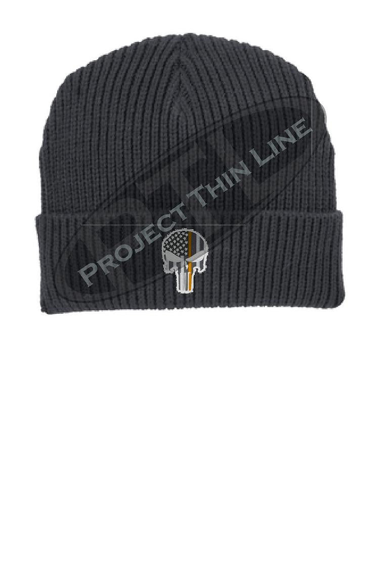 Thin ORANGE Line Punisher Skull inlayed with the American Flag Winter Watch Hat