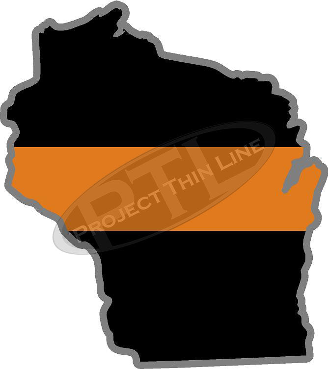 "5"" Wisconsin WI Thin Orange Line Black State Shape Sticker"