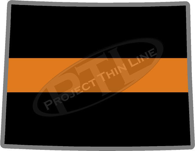 "5"" Wyoming WY Thin Orange Line Black State Shape Sticker"