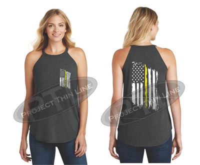 Black Tattered Thin YELLOW Line American Flag Rocker Tank Top