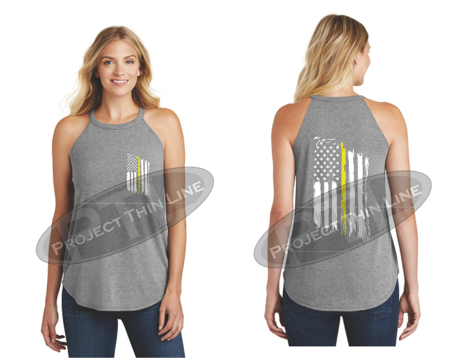 Tattered Thin YELLOW Line American Flag Rocker Tank Top