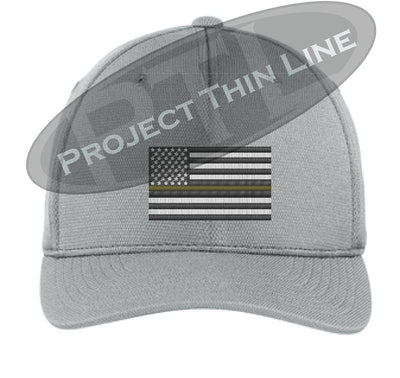 Light Grey Embroidered Thin GOLD Line American Flag Flex Fit Fitted Hat