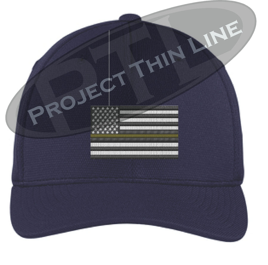 Embroidered Thin Yellow Line American Flag Flex Fit Fitted Hat