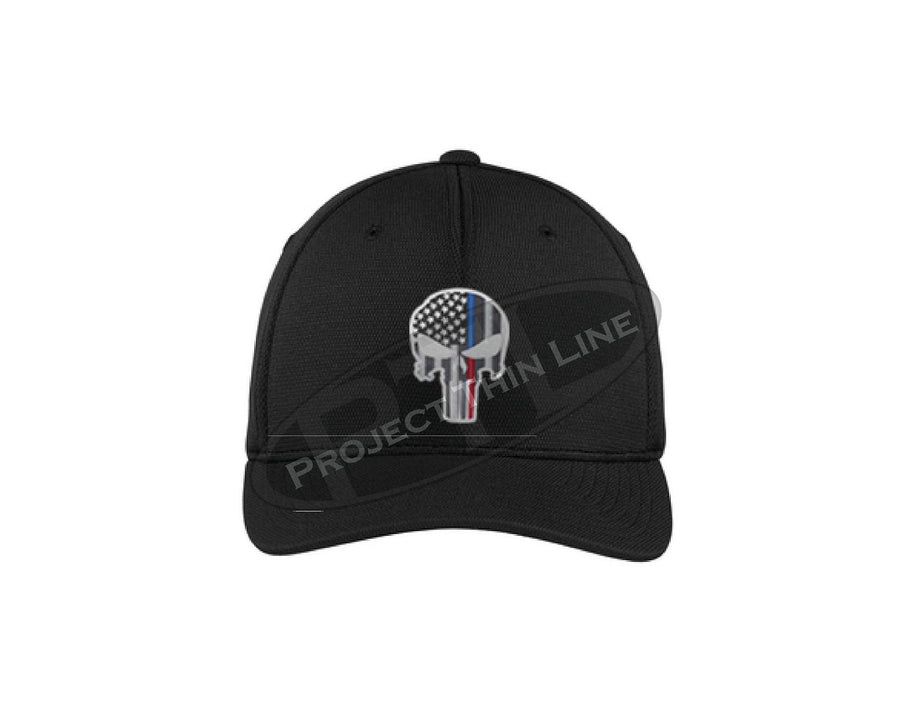 Embroidered Thin Blue / Red Line Punisher Skull with American Flag Flex Fit TRUCKER Hat fitted